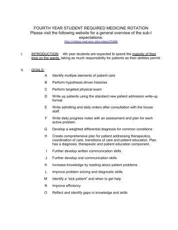 Internal Medicine Sub-Internship Guidelines (pdf)