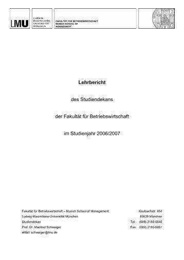 Lehrbericht - Fakultät für Betriebswirtschaft - Ludwig-Maximilians ...