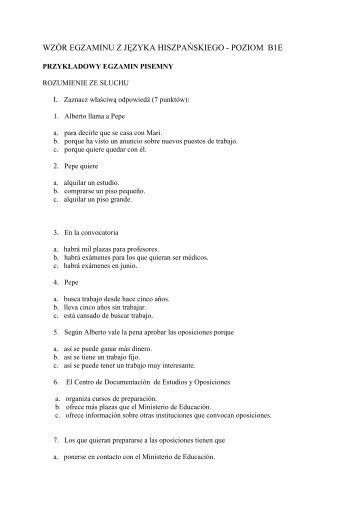 wzór egzaminu z języka hiszpańskiego - poziom b1e - SJO PWr