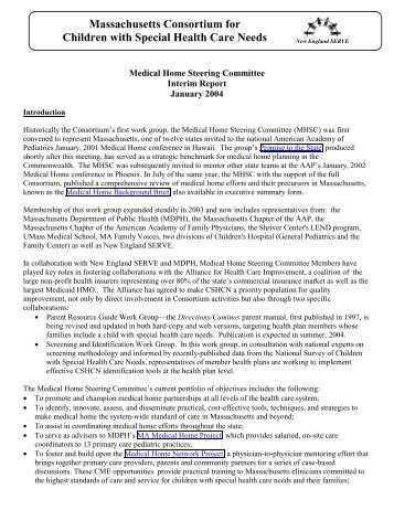 Medical Home Work Group Interim Report - New England Serve
