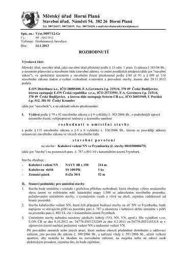 ÚR+SP kabelové vedení NN Frymburk - Městys Frymburk