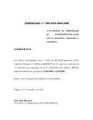 COMUNICADO n º 005/VICE-ADM/2008 COMUNICA - Unochapecó