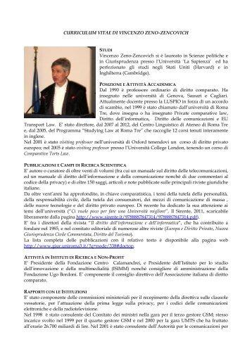 CURRICULUM VITAE DI VINCENZO ZENO-ZENCOVICH Vincenzo ...