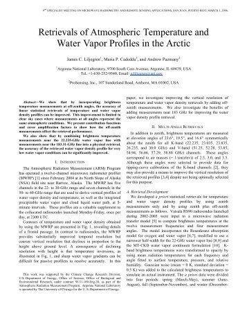 Retrievals of Atmospheric Temperature and Water Vapor Profiles in ...