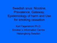 Swedish snus: Nicotine, Prevalence, Gateway, Epidemiology of ...