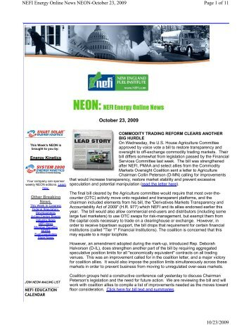 October 23, 2009 Page 1 of 11 NEFI Energy Online News ... - PriMedia
