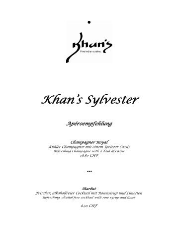 Khan's Sylvester Apéroempfehlung