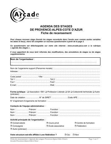 AGENDA DES STAGES DE PROVENCE-ALPES-COTE D'AZUR ...