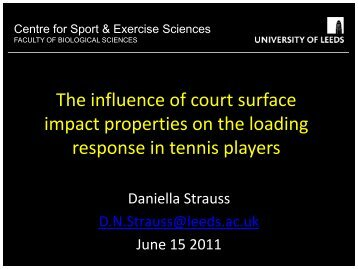 Leeds University - Player surface interaction in tennis - Sportsurf