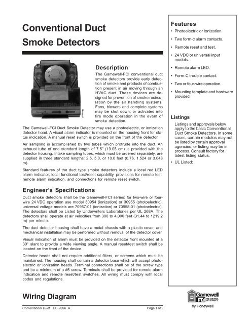Conventional Duct Smoke Detectors Gamewell Fci
