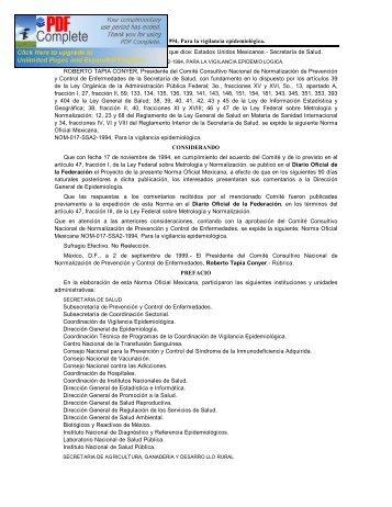 NOM-017-SSA2-1994, Para la vigilancia epidemiológica - Instituto ...