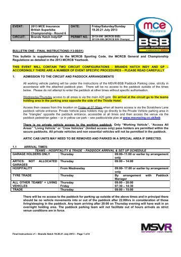BULLETIN ONE - FINAL INSTRUCTIONS (13-06/01) This bulletin is ...