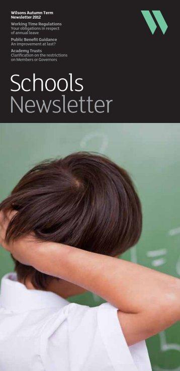 Schools Newsletter - Autumn Term 2012 - Wilsons