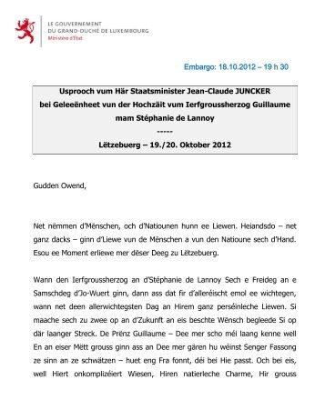 Embargo: 18.10.2012 – 19 h 30 Usprooch vum Här ... - Luxembourg