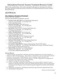 International Fanconi Anemia Treatment Resource Guide AUSTRALIA