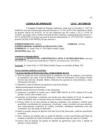 LICENÇA DE OPERAÇÃO LO N.° 36172005-DL - Fepam