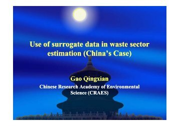 Use of surrogate data in waste sector estimation (China's Case)