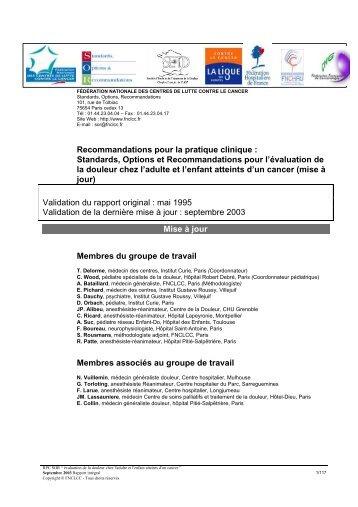 Recommandations pour la pratique clinique - Coordination ...