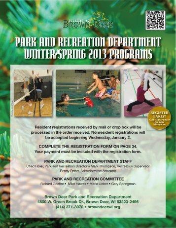 2013 Winter/Spring Program Flyer - Village of Brown Deer
