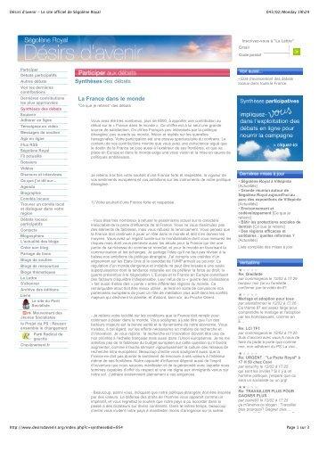 Désirs d'avenir - Le site officiel de Ségolène Royal - Iran Resist