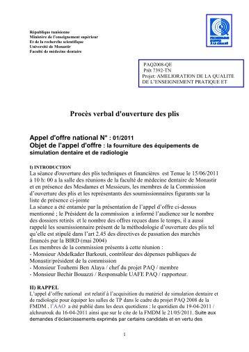 République tunisienne - Faculté de Medecine Dentaire de Monastir