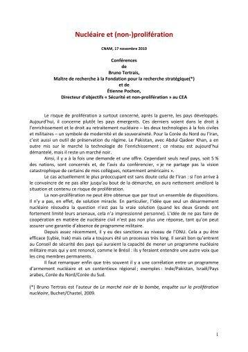 Nucléaire et (non-) prolifération – ST1/2010 - Sfen