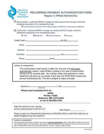 recurring payment authorization form american psychiatric nurses