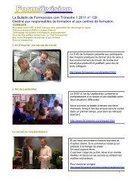 Le Bulletin de Formavision.com Trimestre 1 2011 n° 139 Destiné ...