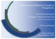 Bausteine eines effizienten Compliance Managements