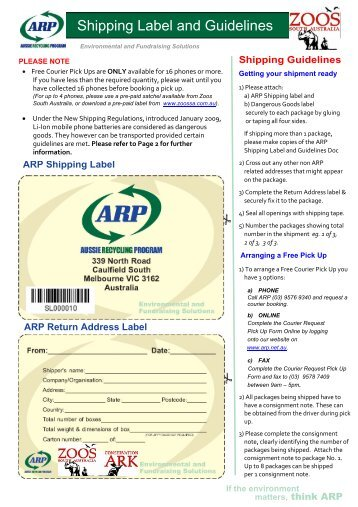 Ship Labels & Instructions - Zoos South Australia