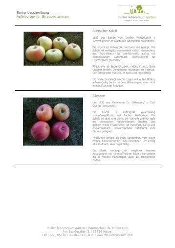 Apfelsorten für Streuobstwiesen A-L - müller lebensraum garten