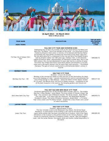 16 April 2012 – 31 March 2013 - Thompsons Tours