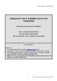 Sjekkliste for vurdering av kvalitativ forskning - Nasjonalt ...