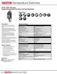 Temperature Switches - HYDAC USA