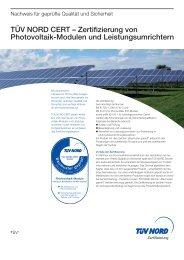 TÜV NORD CERT – Zertifizierung von Photovoltaik-Modulen und ...