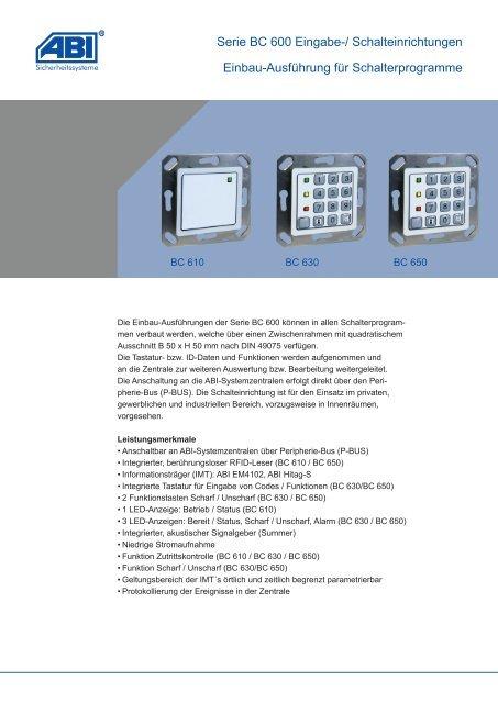 Datenblatt Serie BC 600 Eingabe-/Schalteinrichtungen für ...