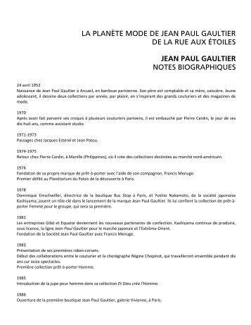 Jean Paul Gaultier : notes biographiques - Musée des beaux-arts de ...