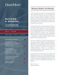 Building and Bonding, The Construction Group ... - Duane Morris LLP