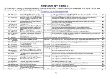 German - FREE GAZA IN THE MEDIA - Free Gaza Movement