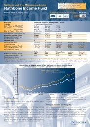 Rathbone Income Fund - Rathbone Unit Trust Management