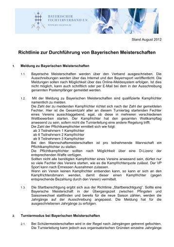 Richtlinie zur Durchführung von Bayerischen Meisterschaften