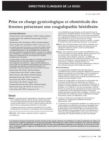 directives cliniques de la sogc - Société Canadienne de l'Hémophilie