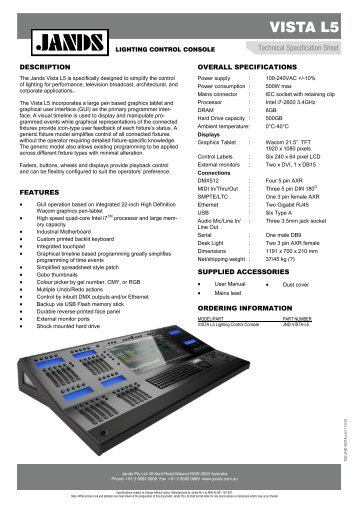 Vista L5 Technical Specification Sheet - Jands