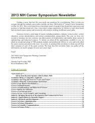 2013 NIH Career Symposium Newsletter