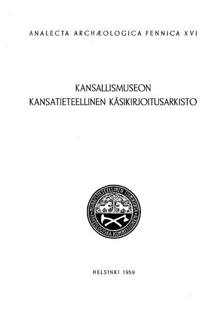 Kansallismuseon Kansatieteellinen Ka Sikirjoitusarkisto Luettelo