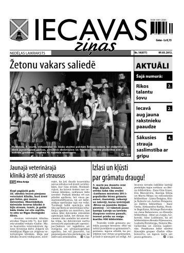 laikraksts «Iecavas Ziņas» 3. lpp. 09.03.2012.