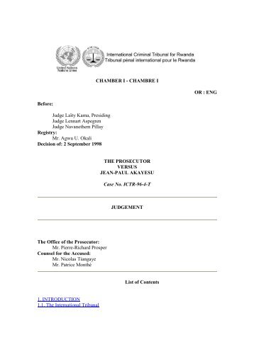 Case No. ICTR-96-4-T - International Criminal Tribunal for Rwanda