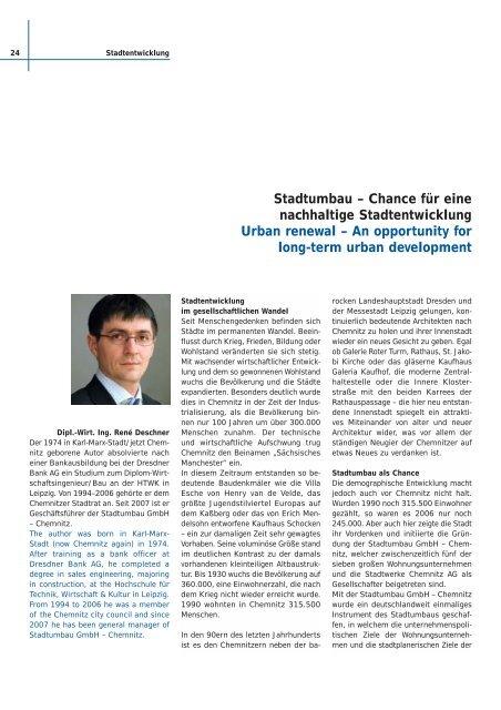 Chance für eine nachhaltige Stadtentwicklung Urban renewal - Ebn24