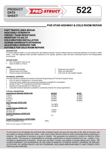 FIVE STAR HIGHWAY & COLD ROOM REPAIR - StonCor Africa