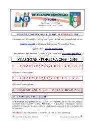 COMUNICATO n.30 del 04/02/2010 - FIGC
